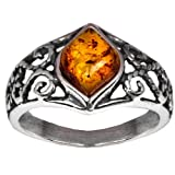 Sterling Silver Amber Marquise Shaped Ring