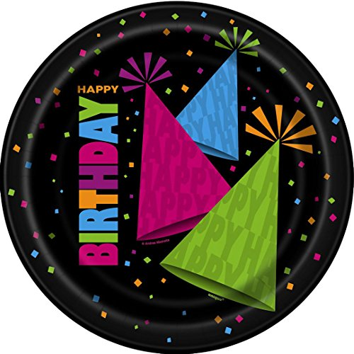 Neon Happy Birthday Party Paper Plates, Pack of 8 x 23cm