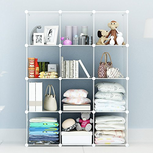 4-tier Storage Cube Closet Organizer by COSYHOME, Shelf 12-Cube Cabinet Bookcase Transparency (Shelving Modular compare prices)