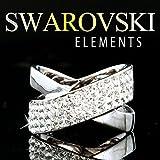 【SWAROVSKI ELEMENTS】 #1028 高級 パヴェ クロスラインリング ホワイトゴールドカラー スワロフスキー エレメンツ クリスマス プレゼント 指輪