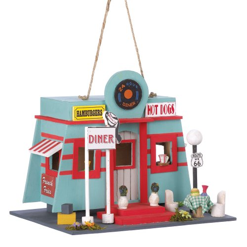 Gifts & Decor Rock and Roll Fifties Diner Style Garden Bird House