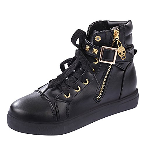 T&Grade Womens Fashion Comfortable Skull Lace Up Buckle Zipper Skull Sports Canvas Sneakers Shoes(8.5 B(M) US, Blackleather)