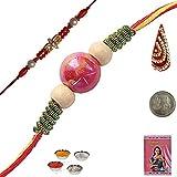 Indiangiftemporium Send India Exclusive Handcrafted Beads Rakhi Rakhi Raksha Bandhan Gift Band Moli Bracelet Wristband...