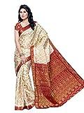 Mimosa Kanchipuram Tassar Wedding Silk Saree White(3050-65-HLFWHITEMARUN)
