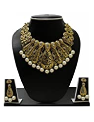 Zaveri Pearls Antique Gold Tone Pearl Drop Set ZPFK129 For Women