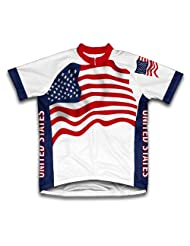 United States Flag Short Sleeve Cycling Jersey for Women