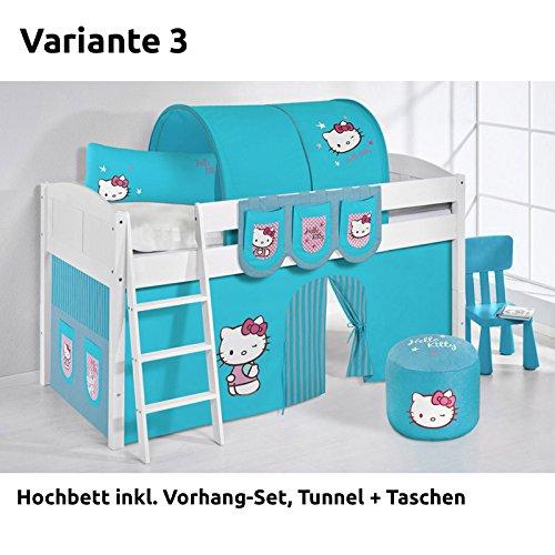 Hochbett Spielbett IDA Hello Kitty Türkis, mit Vorhang, weiß, Variante 3