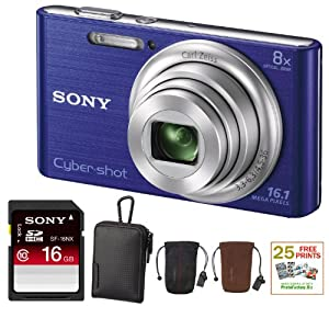 SONY Cyber-shot DSC-W730 Compact Zoom Digital Camera in Blue + 16GB Secure Digital Memory Card + Sony Case in Black + Sony Drawstring Style Case + 25 Free Quality Photo Prints