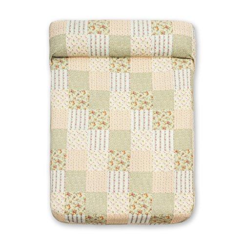 Sancarlos - Colcha bouti patchwork campa verde - relleno ligero - esquinas redondeadas - varias medidas disponibles