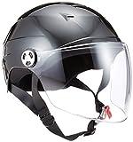リード工業 バイクヘルメット ハーフ シールド付 ブラック LLサイズ 61~62cm未満 RE41
