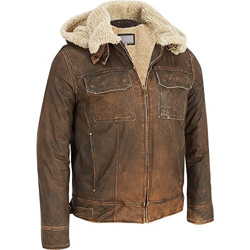 Vintage Leather Bomber Jacket W/ Faux-Shearling
