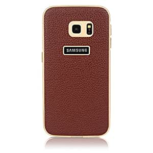 ImagineDesign(TM) Premium Leather Back Case Cover With Metal Bumper for Samsung Galaxy S6 Edge (Brown)