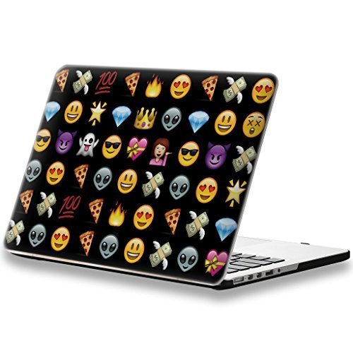 iCasso Emoji 3D Printing New Art Fashion Image Series Ultra Slim Light Weight Rubberized Hard Case Glossy Clear Crystal Snap-On Hard Cover Case for MacBook Pro 13 inch (Model: A1278) - Black by iCasso [並行輸入品]
