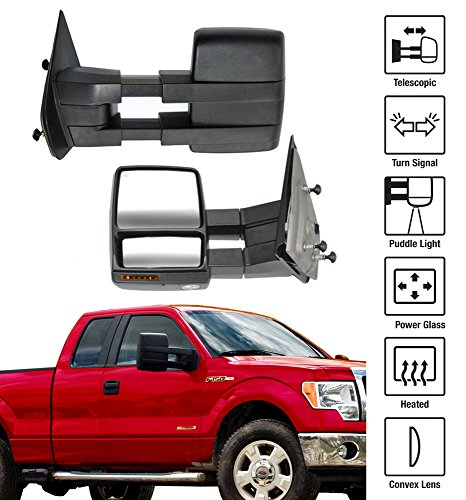 2004-2014 Ford F-150 Towing Mirrors Pair Set Power Heated Glass With Convex Lens Telescoping Arms LED Turn Signal Puddle Light Pickup Truck Side View Mirrors (2005 Ford F150 Towing Mirrors compare prices)