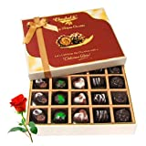 Valentine Chocholik's Belgium Chocolates - Creative Collection Of Dark And Milk Chocolate Box With Red Rose