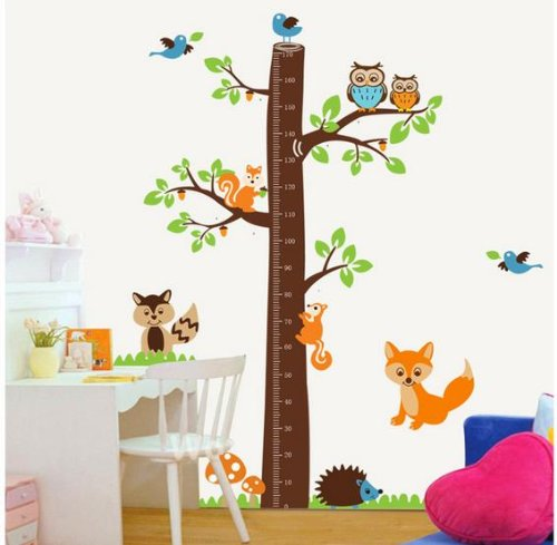 """Xxx Large Jungle Tree Growth Chart Decal For Kids Wall Art Sticker Removable 73""""X72"""" Jungle Owl Tree Decorative Height Chart Sticker Fox/Owl/Squirrel/Hedgehog/Birds front-878621"""