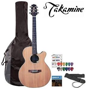 Takamine EG544SC-4C 6-String Acoustic Electric Guitar Kit - Includes: Guitar strap, DAddario EJ16 Strings, Planet Waves 16-Pack Pick Sampler and TKL 4615 Gig Bag!