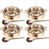 Set Of 4 Prisha India Craft ® High Quality Handmade Steel Copper Casserole With Lid And Serving Spoon - Set Of...
