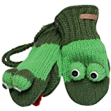 Animal World - Fergie the Frog Kids Knit Mittens Green