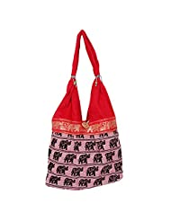 Womaniya Canvas Red Handbag For Women(Size-32 Cm X 32 Cm X 10 Cm) - B00SJ1JY1S