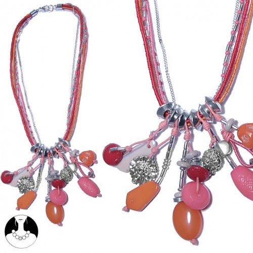sg paris women necklace necklace 5 rows 50 cm silver multi coral orange comb glass