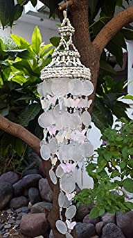 White Nassa Capiz Wind Chime Butterfly (25″)