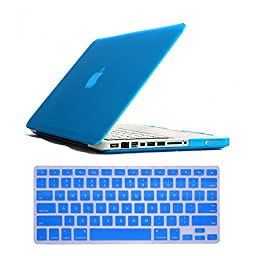 Weefox 2-in-1 Ultra Slim Light Weight Solid Plastic Rubberized Frosted Matte Hard Shell Skin Protective Case Cover and Soft Silicone Keyboard Skin Cover for Apple Macbook Pro 13 Inch Display Model A1278 - Light Blue