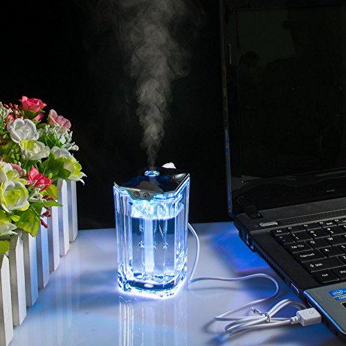 SSAdams USB Mini Changing Color LED Crystal Glass Humidifier Mist Ultrasonic Humidifier