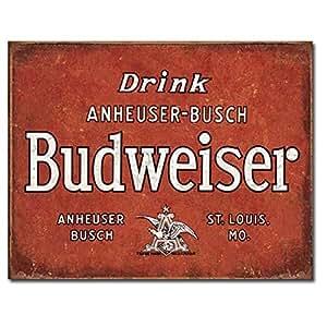 "Amazon.com - Budweiser - Drin Liquor & TobaccoTin Sign 16""Wx12.5""H -"