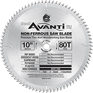 Freud tk706 avanti 10 inch 80 tooth tcg non ferrous metal for 10 inch table saw blades