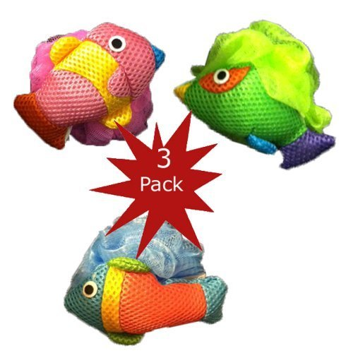 Kid's Mesh Fish Bath Sponges (Pack of 3) - 1