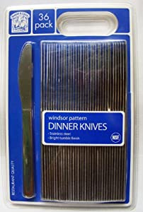 Bakers & Chefs Windsor Pattern Stainless Dinner Knives 36 Pack