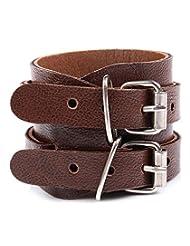 GoldNera Leather Cool Look Buckled Dark Brown Bracelet For Men By GoldNera
