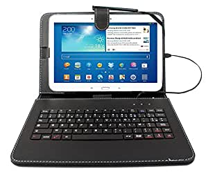 """Etui aspect cuir noir + clavier intégré AZERTY (français) + port de maintien pour tablettes Samsung Galaxy Tab 3 P5200/P5210/ P5220, Note Edition 2014 (SM-P600) et Tab Pro 10,1"""" (SM-T520) + stylet tactile BONUS"""
