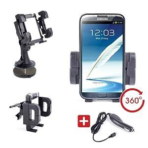 DURAGADGET Support Voiture Multifonction 3 en 1 (Support grille d'aération, Pare-brise et Tableau de bord ) pour Samsung Galaxy Note 2 / Note II N7100 + Chargeur Voiture BONUS - Garantie 5 ans