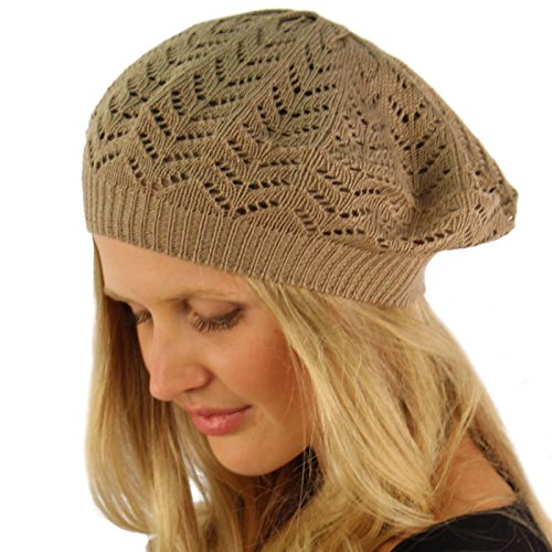 5f18bda8 Light Soft Thin Summer Vent Cut Out Stretch Knit Beret Beanie Hat Cap Tam  Taupe | Hat Outlet Sale