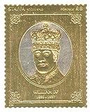 Sellos de oro - Staffa 1977 Reina del Jubileo de Plata Guillermo IV 23k de cupones de lámina de oro - alta calidad - Nunca montados - Nunca bisagras