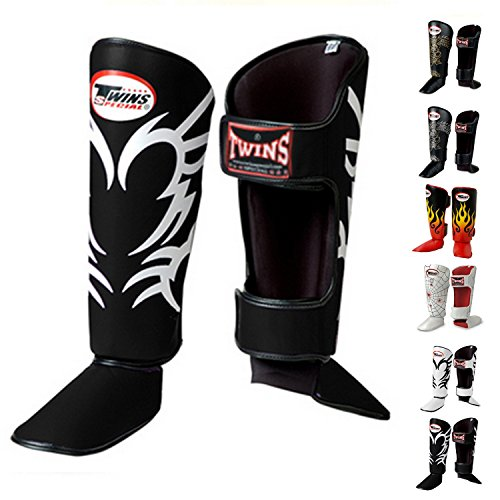 Twins Special Shin Guard Protector Fancy FSG Color Black White Gold Silver Size S M L for Protection in Muay...