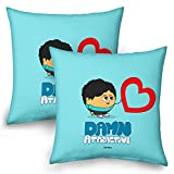 Little India Cute Boy Romantic Heart Printed Blue Cushions Pair 905