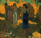 Corbi Wall Decals Three Tahitian Women against a Yellow Background by Paul Gauguin - 24 inches x 22