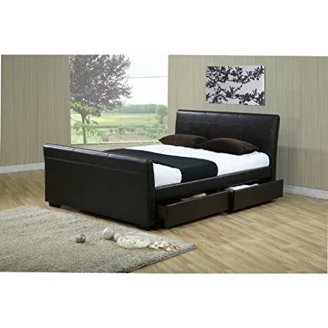 Time Living Houston 5ft King Size Brown Faux Leather Storage Bed Bed Frame Only