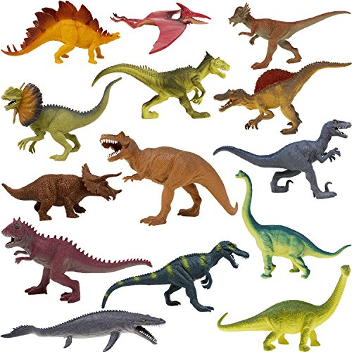 Boley 14 Pack 10-Inch Educational Dinosaur Toys - Realistic Educational Toy Jurassic Dinosaur Figures for Kids, Children, Toddlers - Great Gift Set, Birthday Present, or Party Favor!