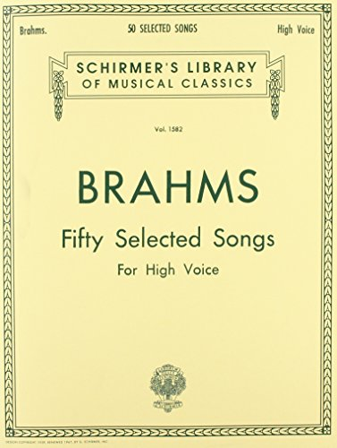 Johannes Brahms: Fifth Selected Songs (Schirmer's Library of Musical Classics) Image