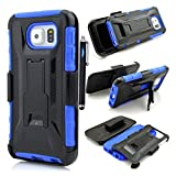 Galaxy S 6 Case,Samsung Galaxy S6 case cover,Slim Belt Case & Belt Clip Holster with Kickstand [Integrated X series Back Clip][Heavy Drop Protection] Ultra Thin GRIPshell - Samsung Galaxy S 6 ,3 in 1 3-piece Combo Hybrid Armor Defender Full Protection [Heavy Duty] back Clip Holster with Kickstand ArmoCase Series with [Kickstand Funtion] and Rotating Belt Clip [HOLSTER] for Samsung Galaxy S6,High Impact Body Armor Hard flexible and durable PC and TPU material Hard Case Cover Protector For Samsung Galaxy S6 New 2015 Release with one stylus pen/1 screen touch pen (Vogue shop-blue)