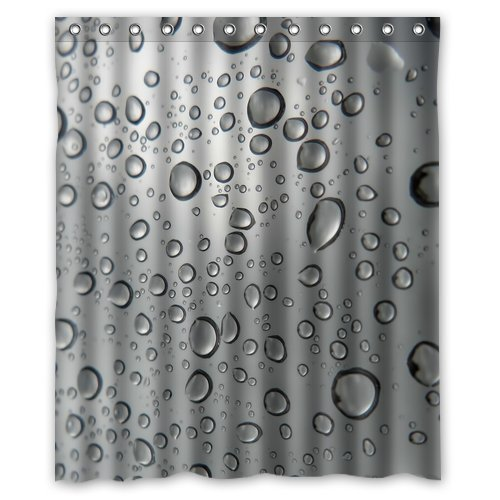Custom Unique Design Colorful Water Drops Waterproof Fabric Shower Curtain, 72 By 60-Inch front-635435