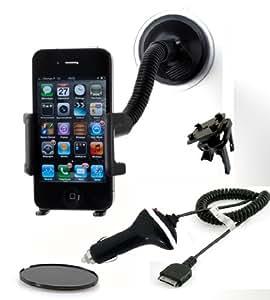 IMOOVE - Support Pare Brise iPhone 4/4S, 3 en 1 (Pare Brise/ Ventilation / Tableau de Bord) pour Apple iPHONE 4 & 4S / iPOD Touch + CHARGEUR AUTO