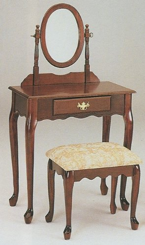 Queen Anne Style Cherry Finish Wood Vanity Set W/mirror & Stool