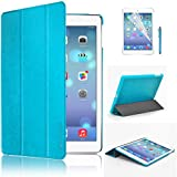 Swees® Ultra Slim Apple iPad Air (5th 2013 Version) Case Cover, Full Protection Smart Cover for iPad Air iPad 5 5th With Magnetic Auto Wake & Sleep Function + Screen Protector & Stylus Pen - Blue