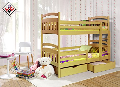 Elegant Cheap DAISY PINE WOOD CHILDREN BUNK BED WITH MATTRESSES AND STORAGE DRAWERS Pine Uk Standard Size