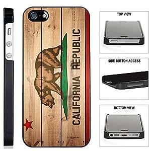 [TeleSkins] - California Flag - iPhone SE / 5 / 5S Black Plastic Case - Ultra Durable Slim & HARD PLASTIC Protective Vibrant Snap On Designer Back Case / Cover for Girls. [Fits iPhone SE / 5 / 5S]